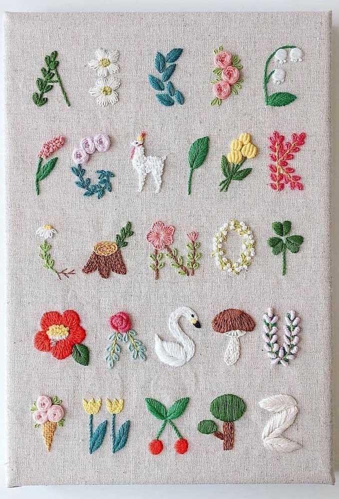 Diferentes opções de bordado em vagonite: flores, animais, frutas, qual você prefere?