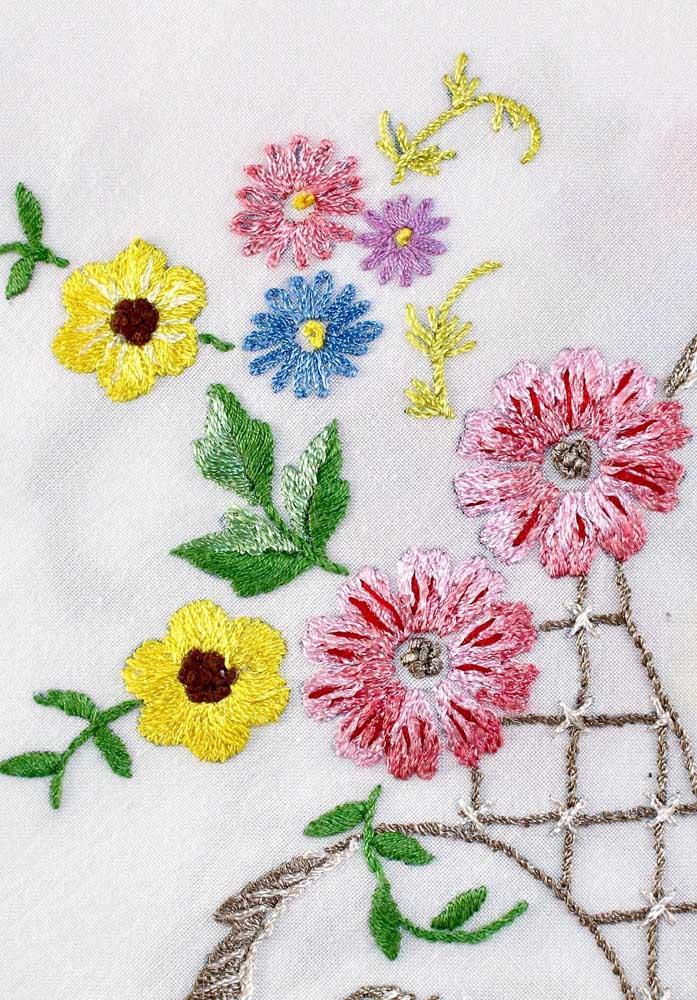 Escolha as flores que mais gosta e borde-as na técnica do vagonite, conte com a ajuda de gráficos para isso
