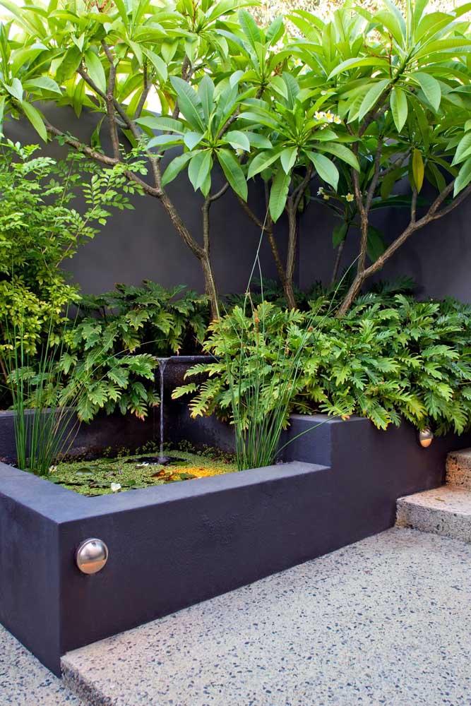 Uma das grandes vantagens do jardim zen é que ele não impõe tamanhos ou limites; aqui, por exemplo, o pequeno tanque de alvenaria se tornou