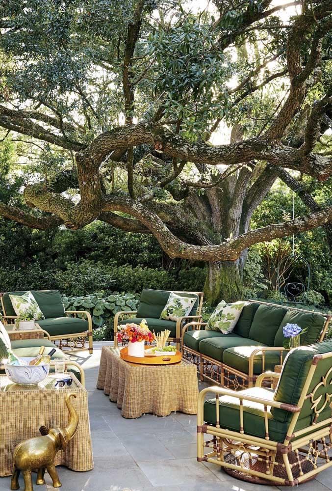Nesse jardim zen, o acolhimento se tornou o ponto de destaque; a interessante árvore aos fundos também é outro grande ponto de atenção
