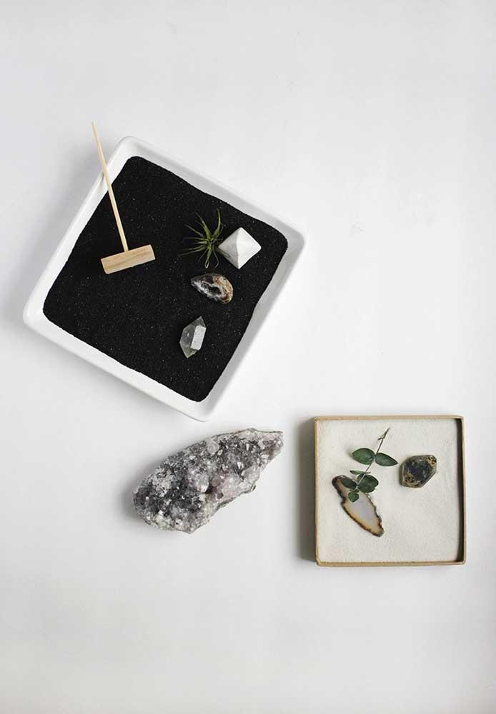 Use a energia dos cristais a seu favor e insira-os no projeto do mini jardim zen