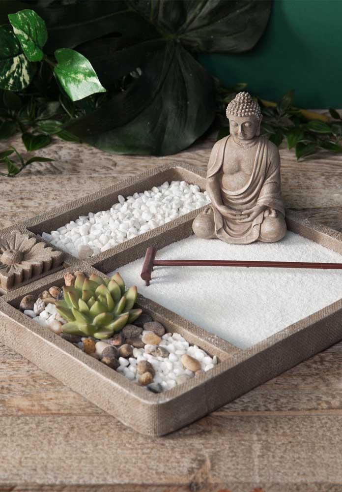 Mini jardim zen: simples, bonito e cumprindo perfeitamente seu papel