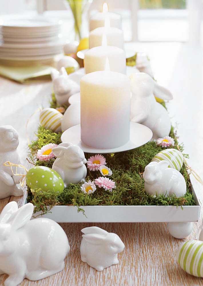 Opção delicada e criativa de mesa de centro para Páscoa