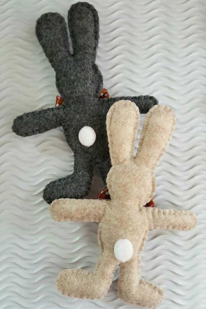 E que tal essas lindezas de coelhos feitos em feltro?