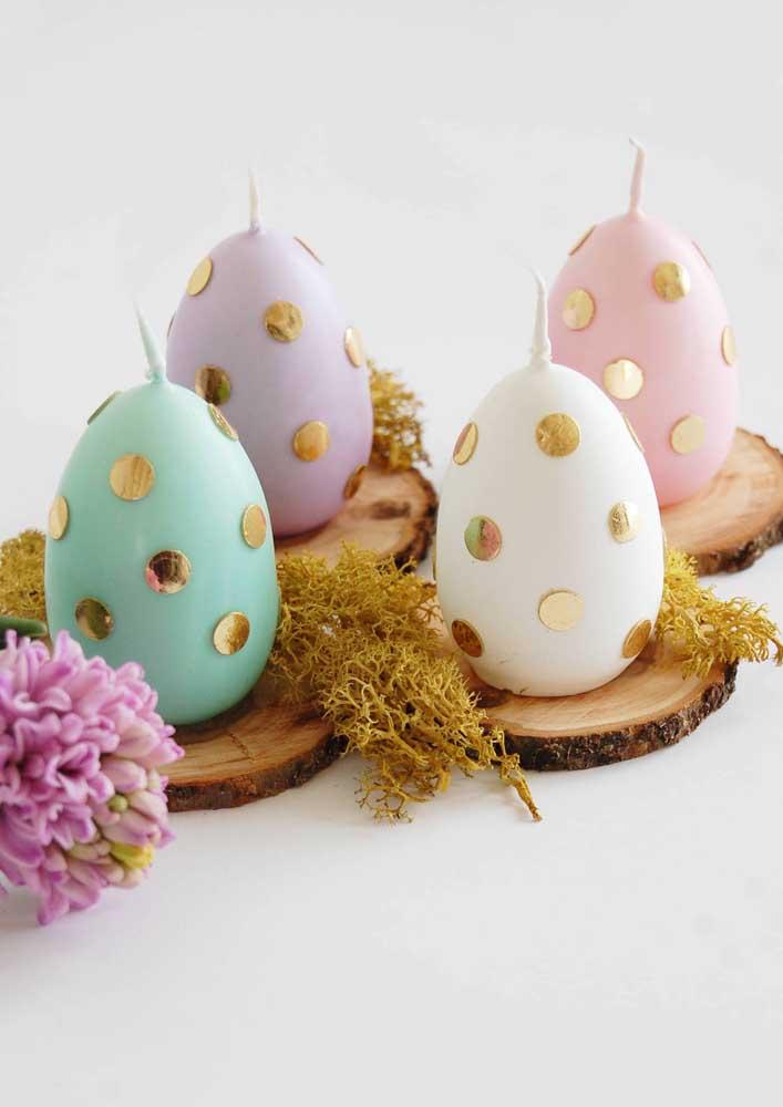 Velas em formato de ovo de páscoa, genial essa ideia, não?