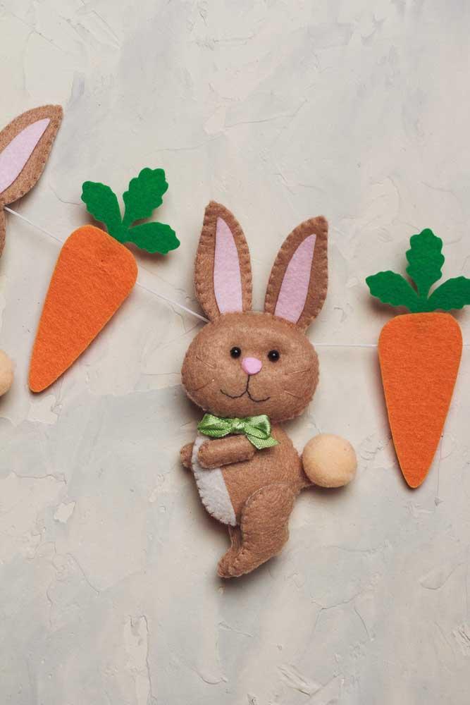 Varalzinho de coelhos e cenouras em feltro; faça e use onde achar melhor!