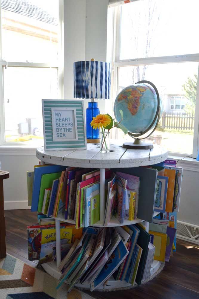 Mesa de estudos e divisória para livros: a bobina de carretel é perfeita para o quarto das crianças