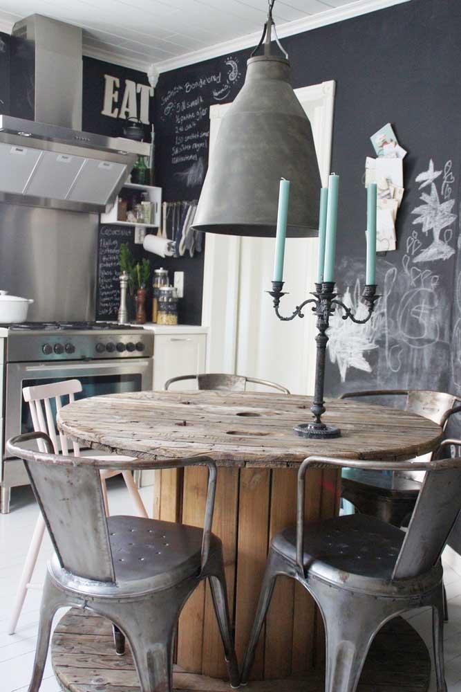 Cozinha moderna e industrial com mesa de carretel: tudo a ver!