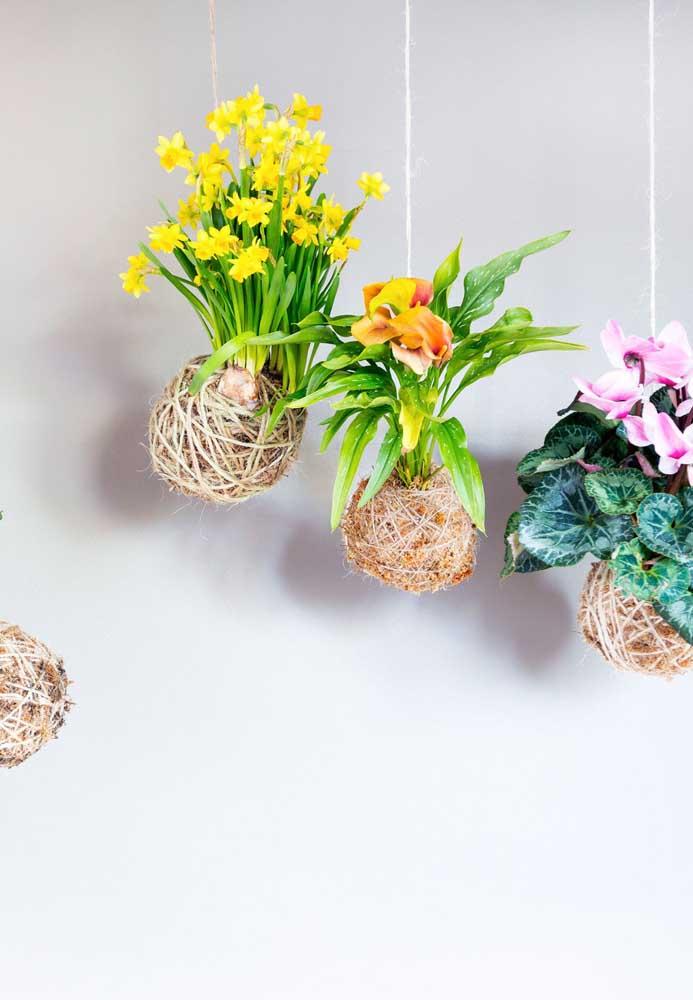 Kokedamas de flores: cor e alegria para o arranjo