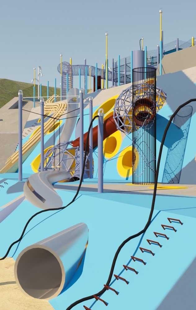 Um playground de grandes dimensões para as crianças brincarem o dia todo