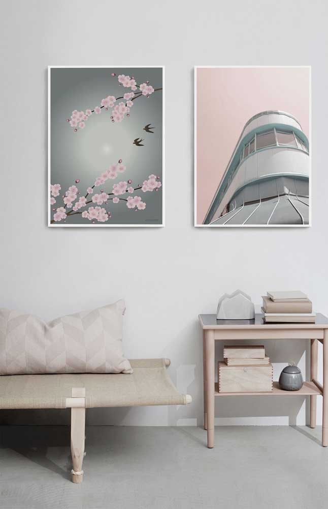 Um quadro simples com flores de cerejeira, mas capaz de transmitir uma sensação muito agradável de harmonia e paz