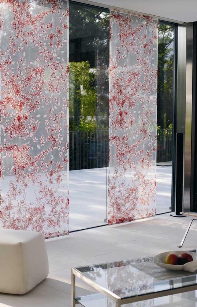 Adesivo transparente com flores de cerejeira para a porta de vidro