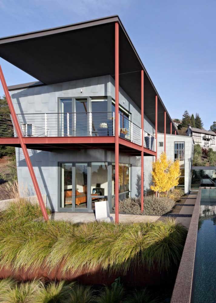 Casa moderna em Steel Frame com varanda coberta