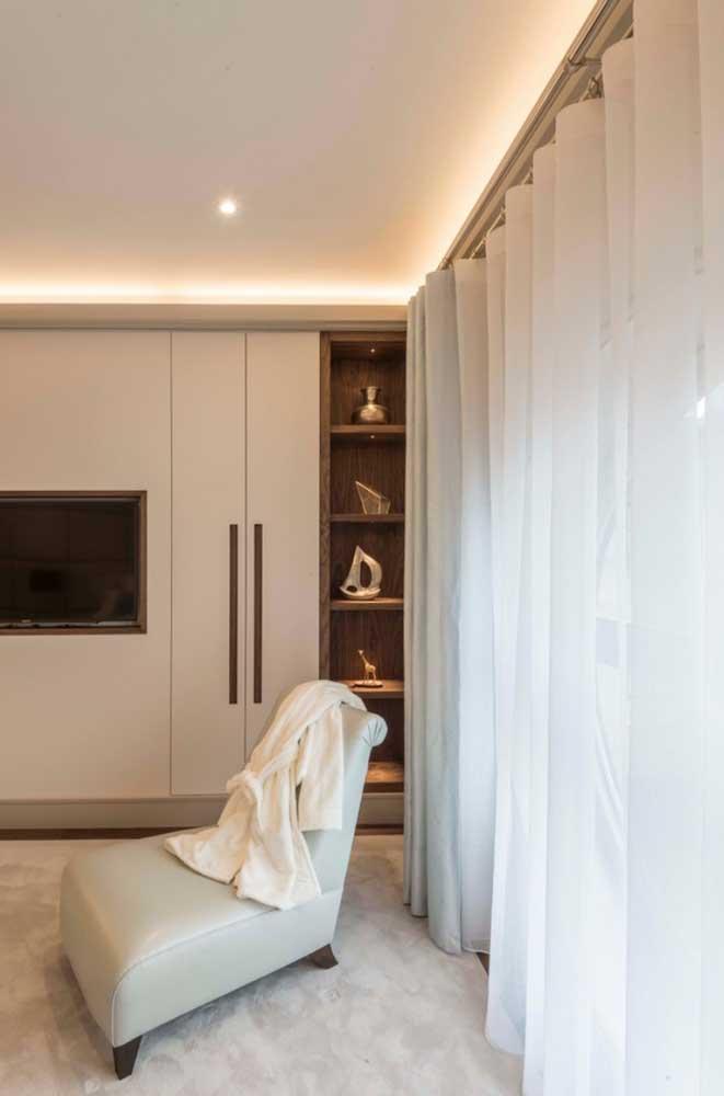 Cortina de voil branco com duas camadas para o quarto