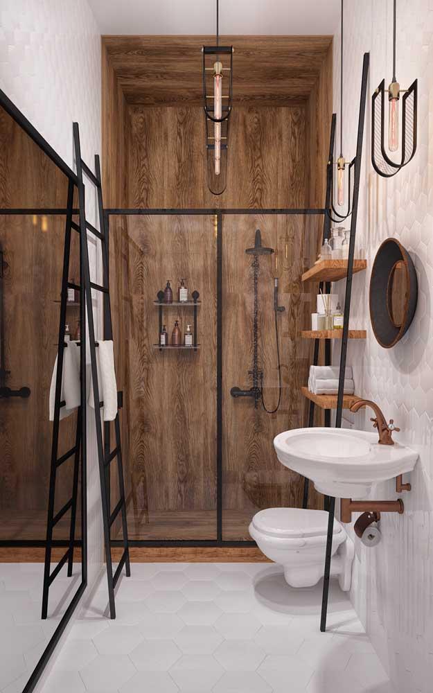 Banheiro moderno, levemente rústico e muito estiloso