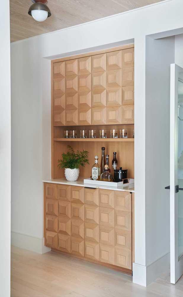 Modo sutil e elegante de inserir a madeira em um ambiente branco