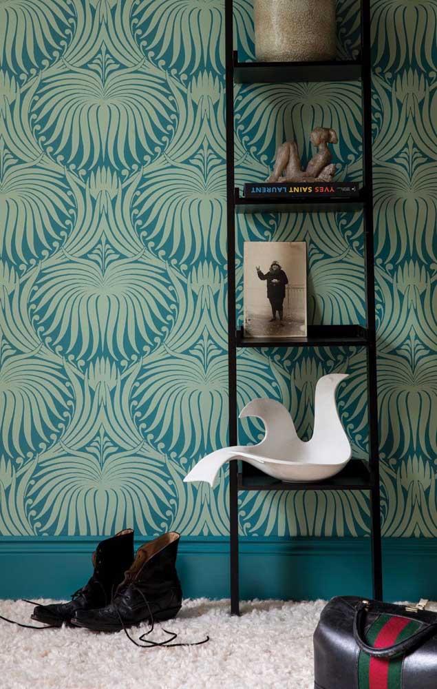 Lindo papel de parede estampado com flores de Lótus estilizadas