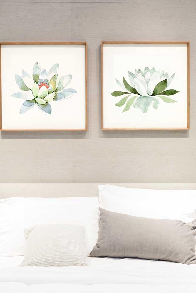 Dois quadros delicados com a Flor de Lótus para decorar a sala de estilo clássico e elegante