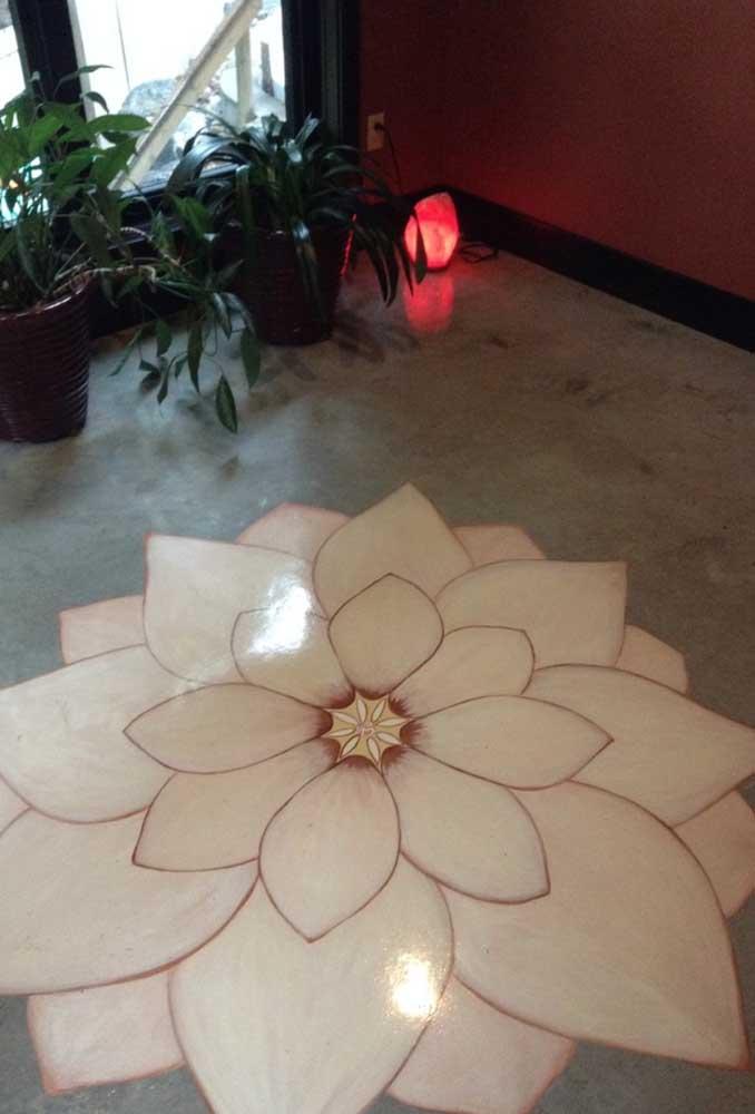 Pintura de Flor de Lótus no chão de cimento queimado
