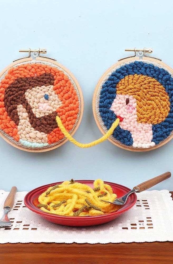 Que ideia criativa e original de artesanato com ponto russo! Muito divertida!