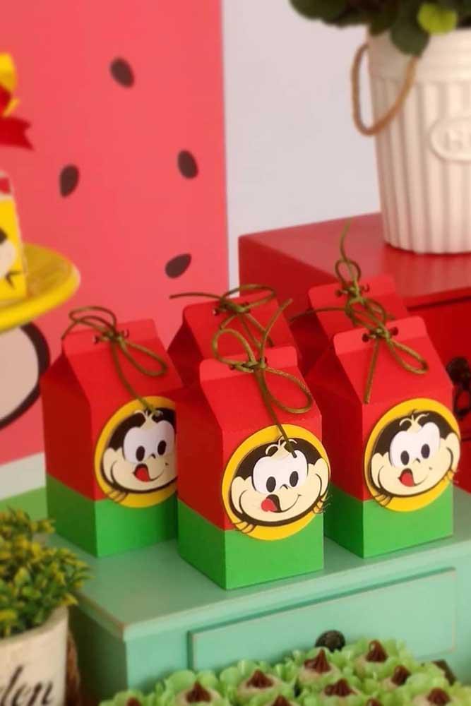 Caixinhas de papel da Magali para a mesa de doces do aniversário