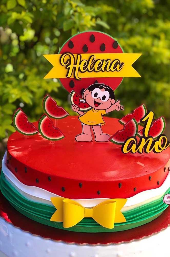 """Bolo personalizado decorado com o tema """"Magali"""" para festa de 1ano"""