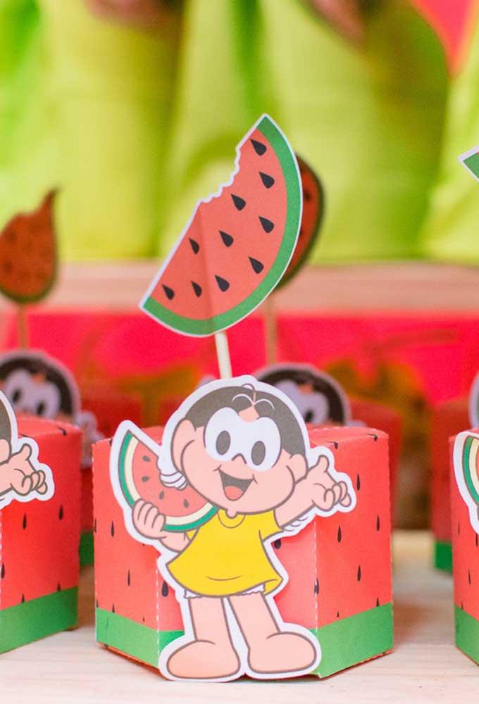 A melancia é item indispensável da festa com tema Magali, seja na decoração, seja para servir