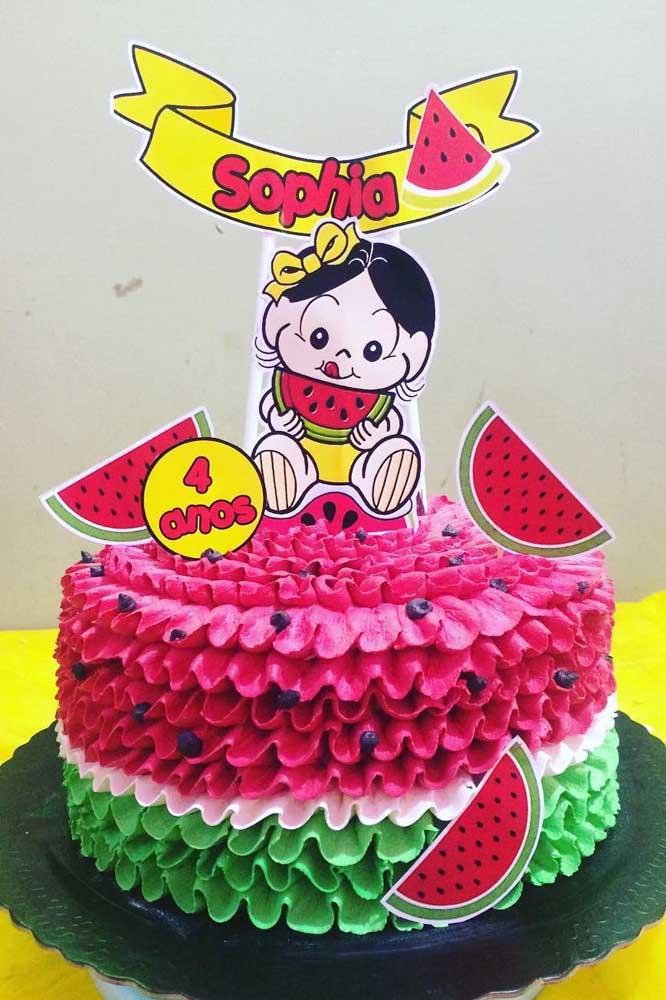 """Lindo bolo decorado com temática """"Magali Baby"""" para aniversário de 4 anos"""