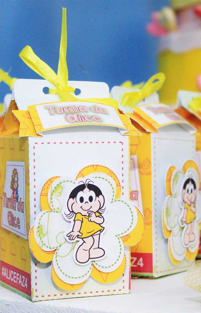 Caixinha de doces da Magali para lembrancinha de aniversário