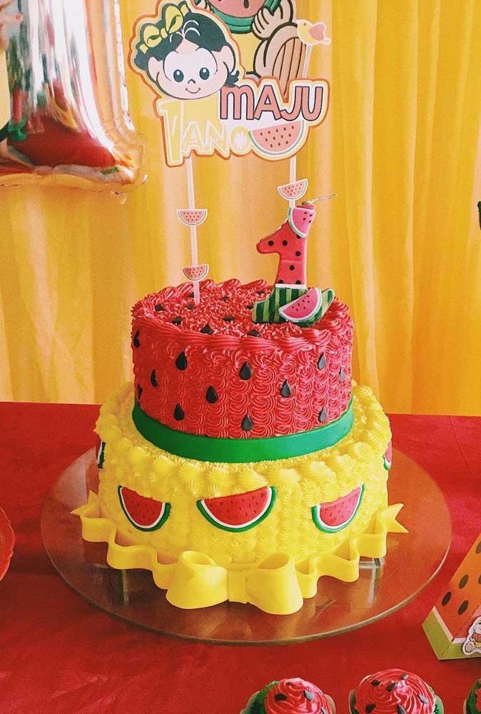 Bolo de aniversário no tema Festa da Magali