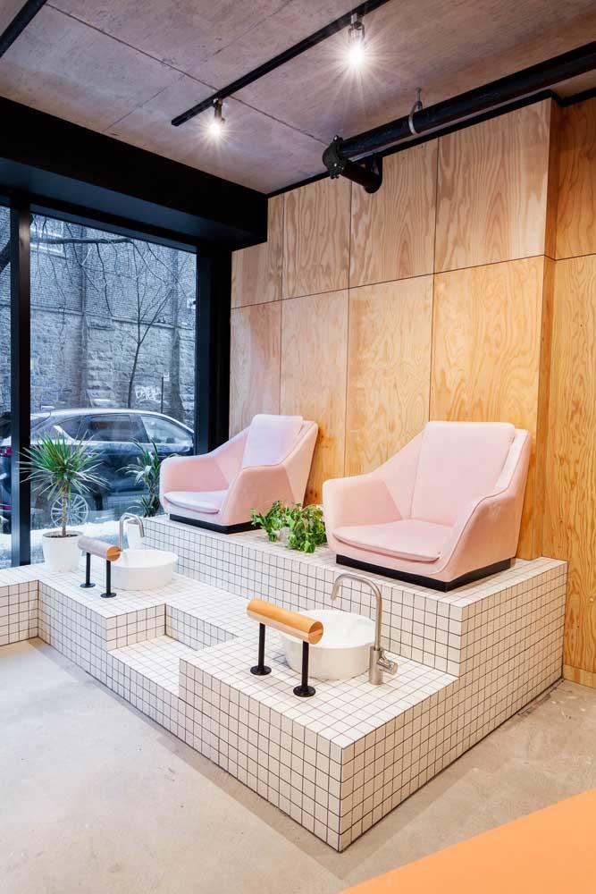 Inspiração de um local diferente e super confortável para o pedicure do salão