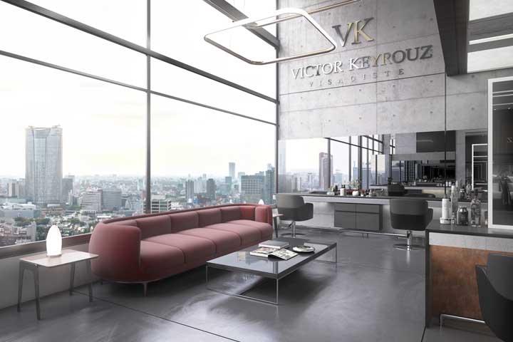 Decoração clean e moderna para valorizar a vista maravilhosa que vem da janela do salão de beleza
