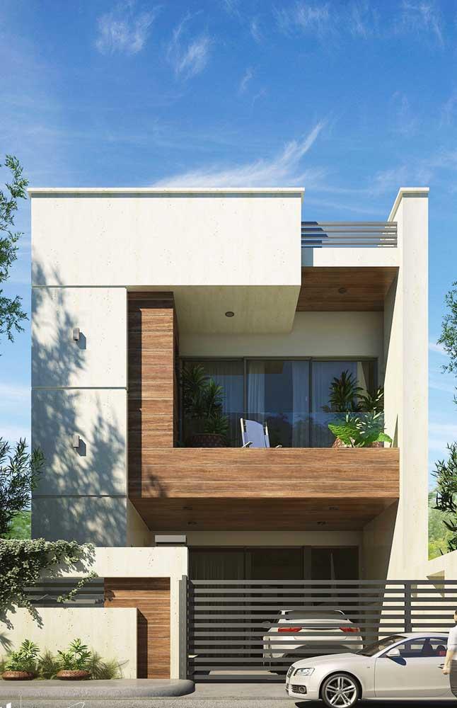 Inspiração de casa de alvenaria pré-fabricada com cômodos externos e fachada contemporânea
