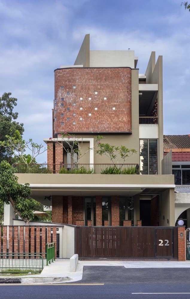 Casa sobrado de alvenaria construída em estilo contemporâneo