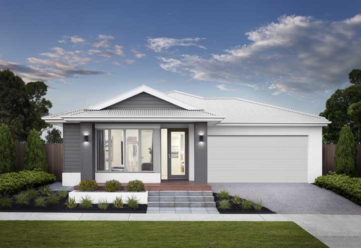Casa de alvenaria moderna em tons de cinza e branco