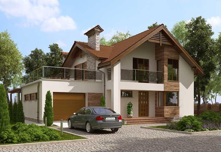 Casa de alvenaria super elegante com varanda no piso superior e acabamentos em pedra