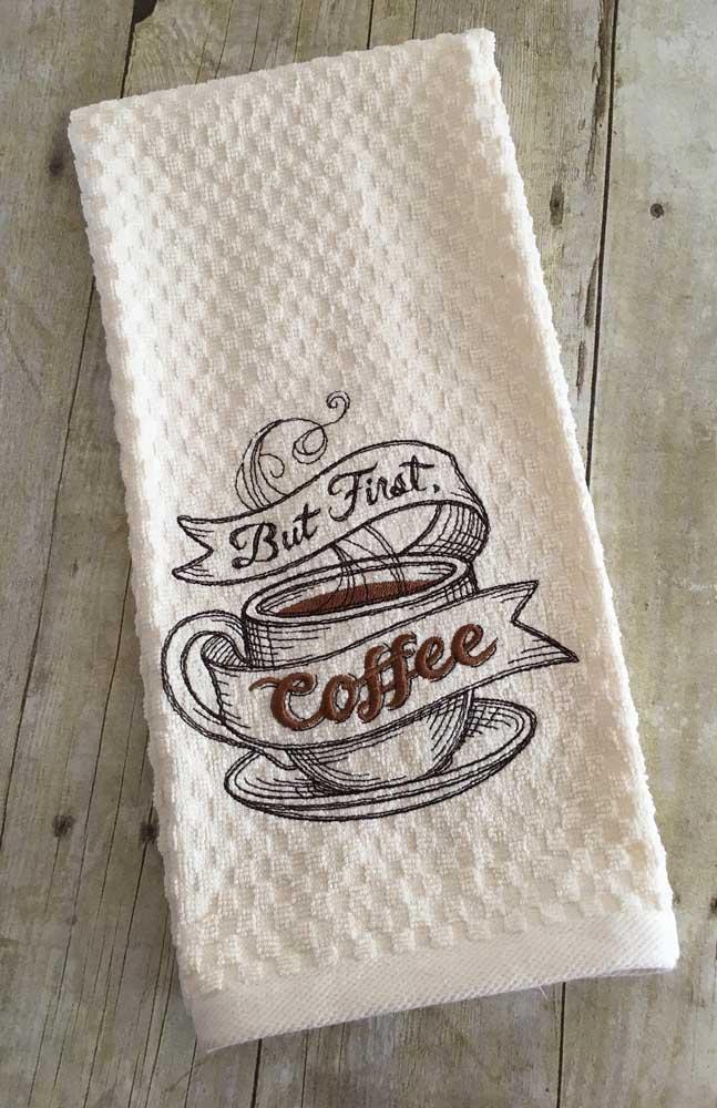 Toalha de copa bordada com tema de café