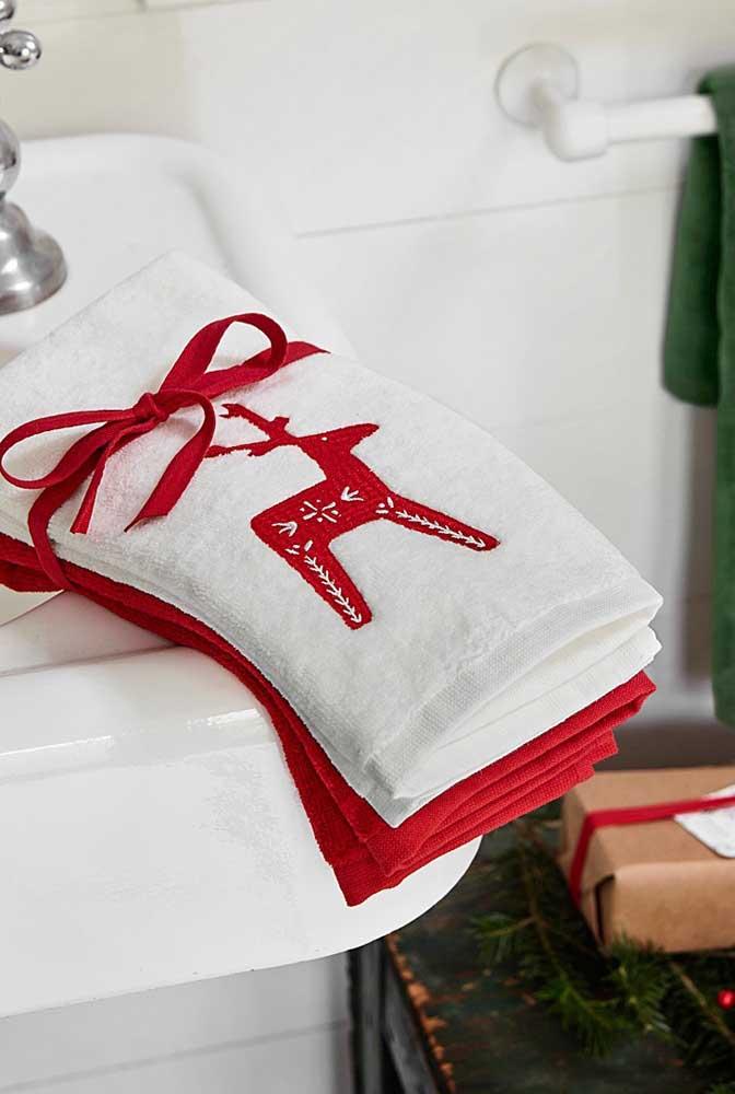Kit de toalhas bordadas para o natal