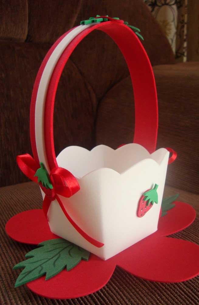 Linda cesta de EVA com alça e base em formato de cachepo