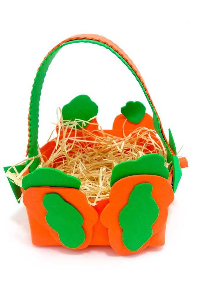 Inspiração de cesta de EVA para páscoa nas cores verde e laranja