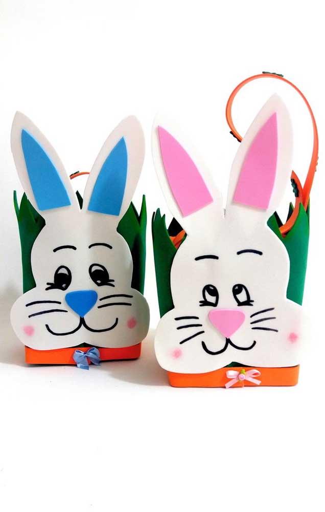 Opções de cestas de EVA para a Páscoa, com base quadrada e moldes de coelhos para decorar
