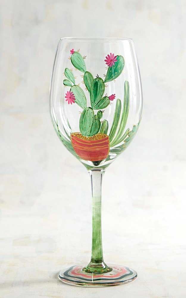 Pintura de cactos para a taça de vinho