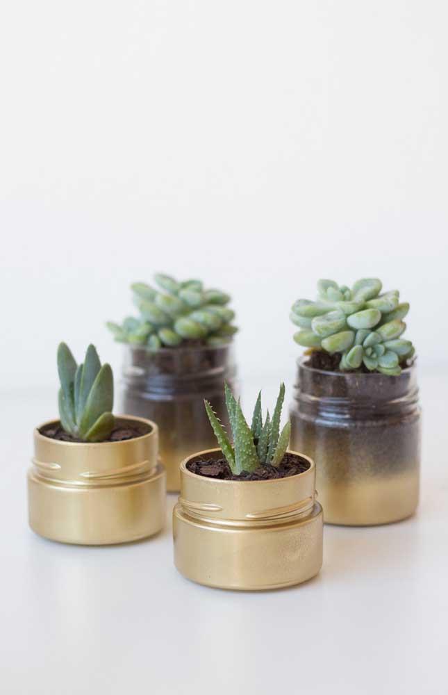 Os pequenos potes de vidro reciclados viraram vasos lindos para as suculentas