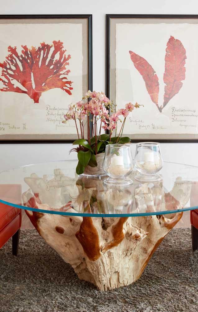 O rústico e o sofisticado: a orquídea Vanda se encaixa perfeitamente entre os dois estilos, servindo, inclusive, como elo de ligação entre eles