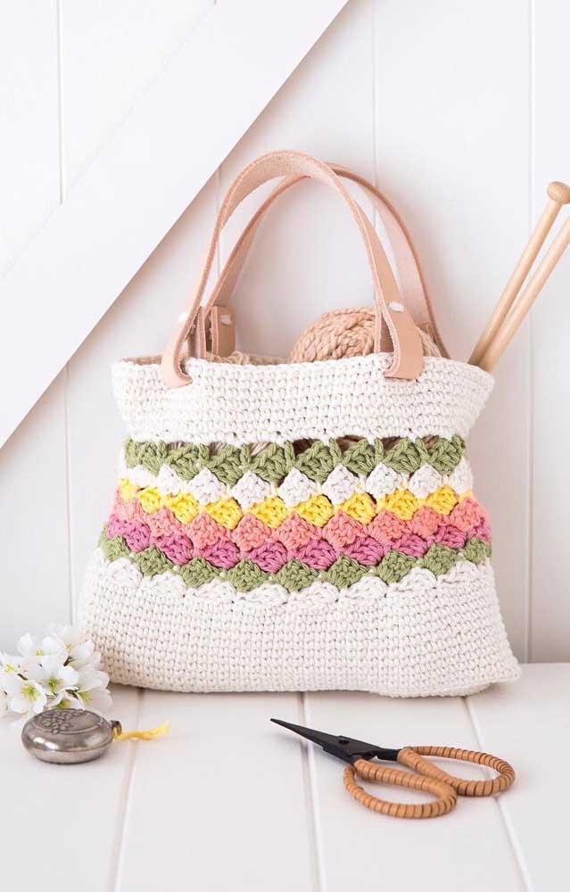 Inspiração de bolsa feita em crochê Tunisiano e cores alegres
