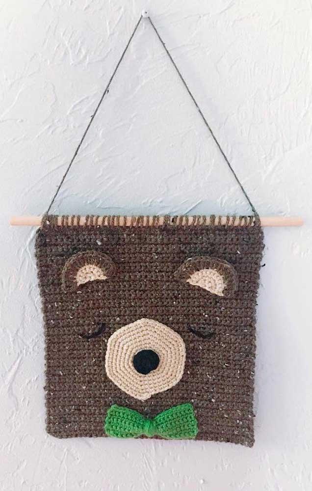 Uma peça delicada feita em crochê Tunisiano para decorar o ambiente