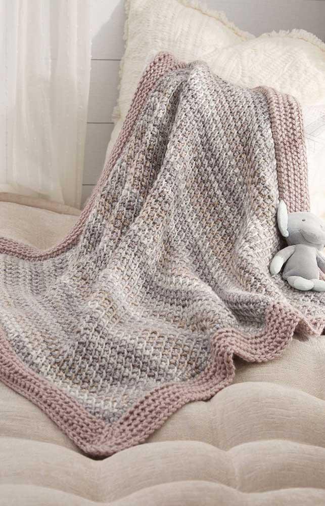 Cobertor simples em crochê Tunisiano para crianças