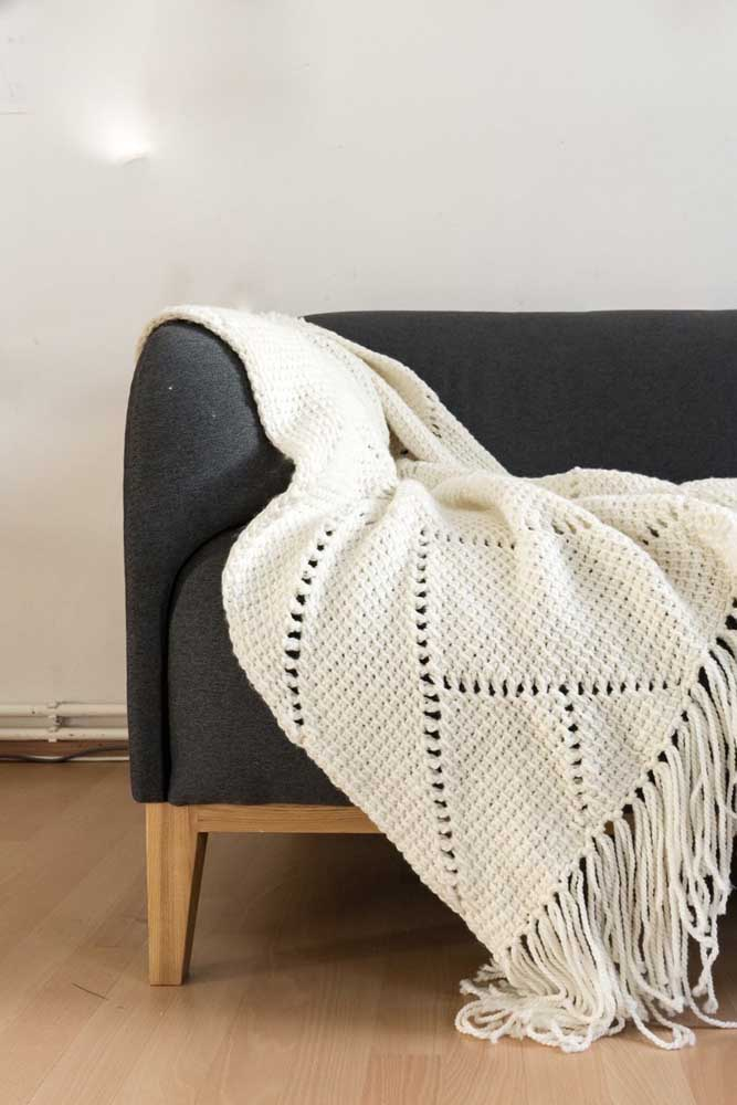 Manta em crochê Tunisiano para um sofá elegante