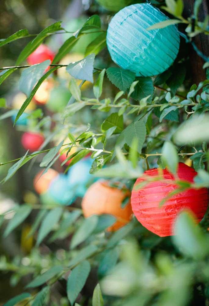 Coloque algumas bolas de enfeites nas árvores para confundir com as frutinhas.