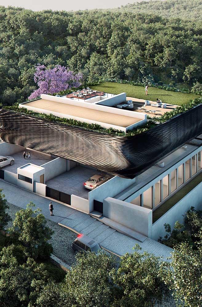 Mansão com telhado verde: conceito ecológico e sustentável empregado nas construções de luxo